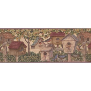 9 in x 15 ft Prepasted Wallpaper Borders - Brown Birdhouses 5804261B Wall Paper Border