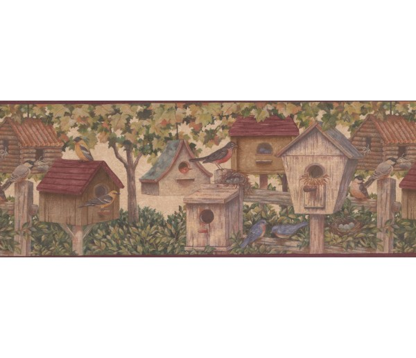 Prepasted Wallpaper Borders - Brown Birdhouses 5804261B Wall Paper Border