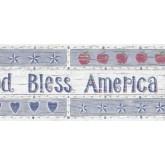 Prepasted Wallpaper Borders - Wooden White God Bless America Wall Paper Border