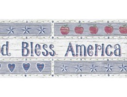 4 2/5 in x 15 ft Prepasted Wallpaper Borders - Wooden White God Bless America Wall Paper Border