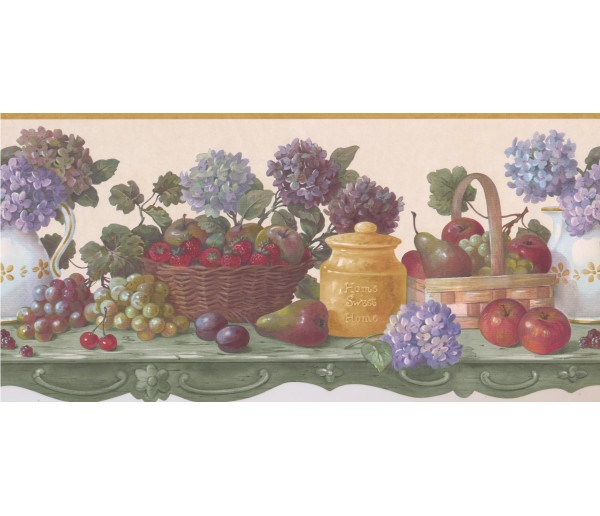 Garden Wallpaper Borders: Taupe Fruit Flower Scalloped Wallpaper Border
