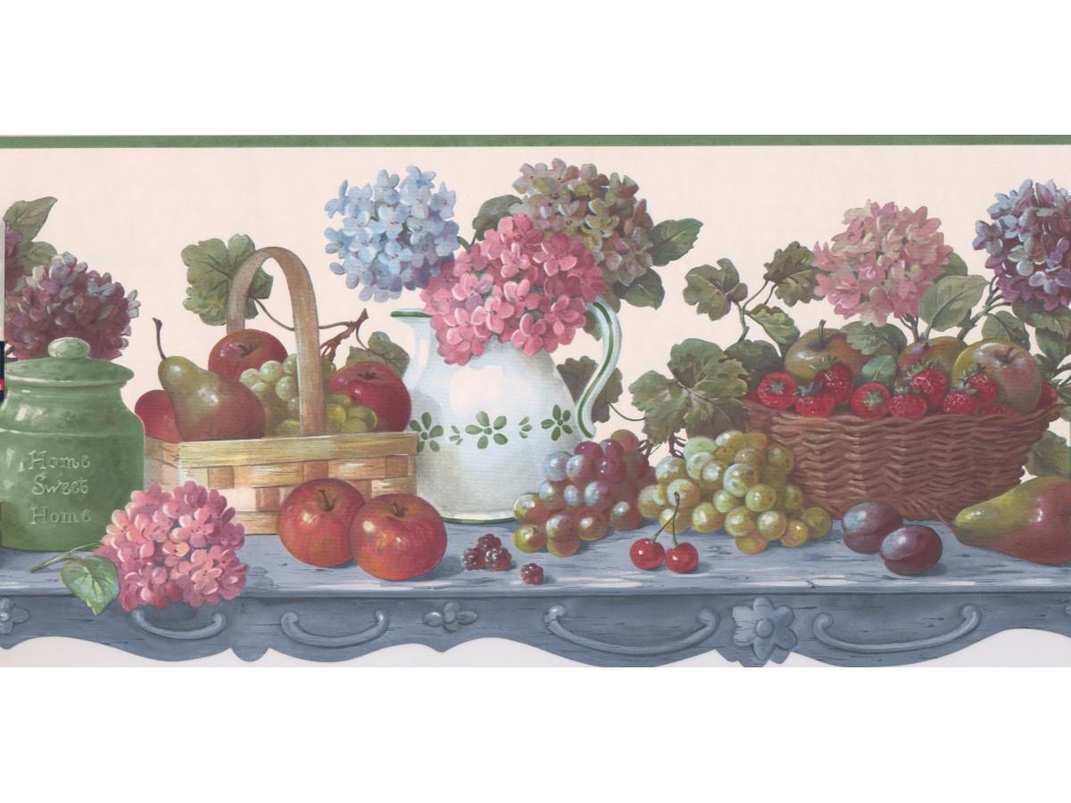 Green Fruit Flower Scalloped Wallpaper Border