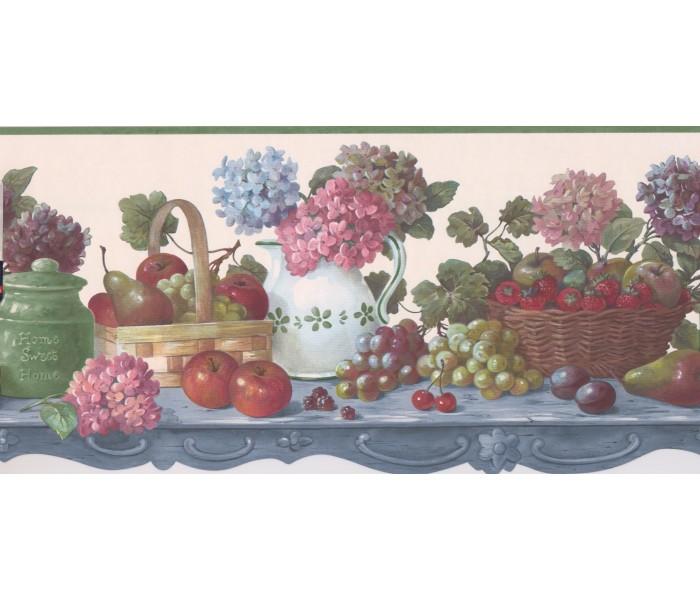Garden Wallpaper Borders: Green Fruit Flower Scalloped Wallpaper Border