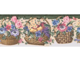 Prepasted Wallpaper Borders - Green Floral Fruit Basket Wall Paper Border