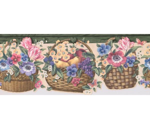 Clearance: Green Floral Fruit Basket Wallpaper Border