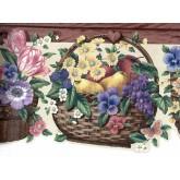 Garden Borders Blue Yellow Flower Basket Wallpaper Border York Wallcoverings