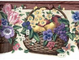 Blue Yellow Flower Basket Wallpaper Border