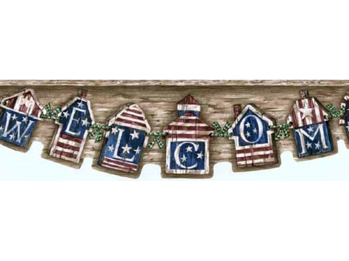 Brown Welcome Americana Wallpaper Border