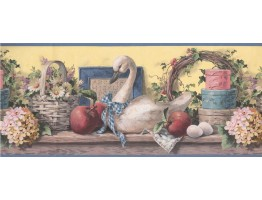 Prepasted Wallpaper Borders - Grey Swan Floral Basket Wall Paper Border