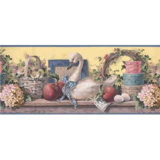 10 1/4 in x 15 ft Prepasted Wallpaper Borders - Grey Swan Floral Basket Wall Paper Border