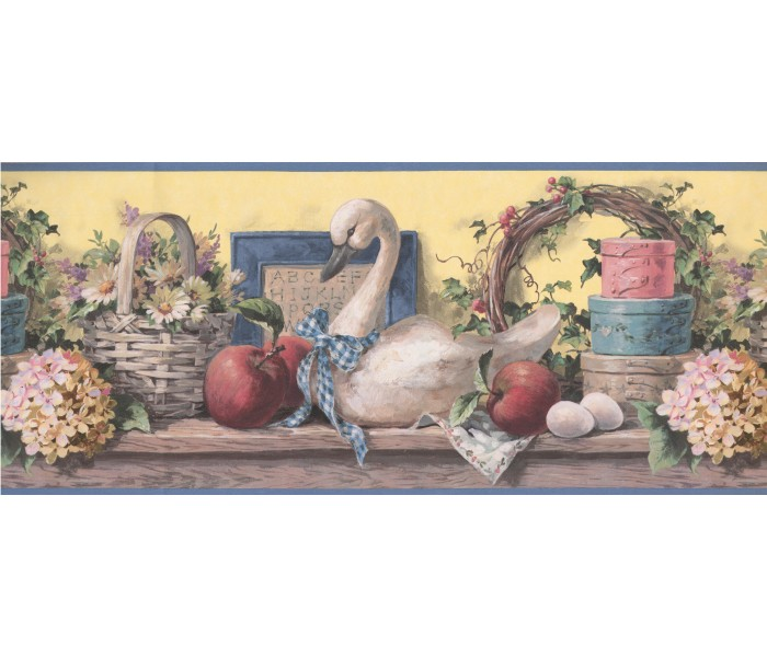 Lodge Wallpaper Borders: Grey Swan Floral Basket Wallpaper Border