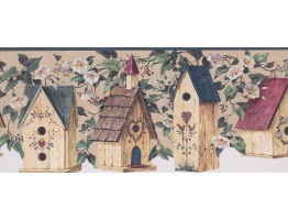 Prepasted Wallpaper Borders - Blue Birdhouse Scalloped Wall Paper Border
