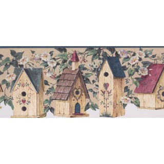 8 3/4 in x 15 ft Prepasted Wallpaper Borders - Blue Birdhouse Scalloped Wall Paper Border