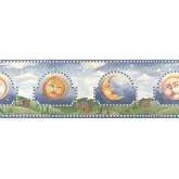 Sun Moon Stars Wall Borders: Blue Celestial Sun Moon Wallpaper Border