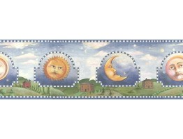 Prepasted Wallpaper Borders - Blue Celestial Sun Moon Wall Paper Border