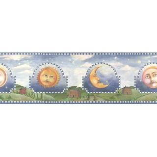 6 1/2 in x 15 ft Prepasted Wallpaper Borders - Blue Celestial Sun Moon Wall Paper Border