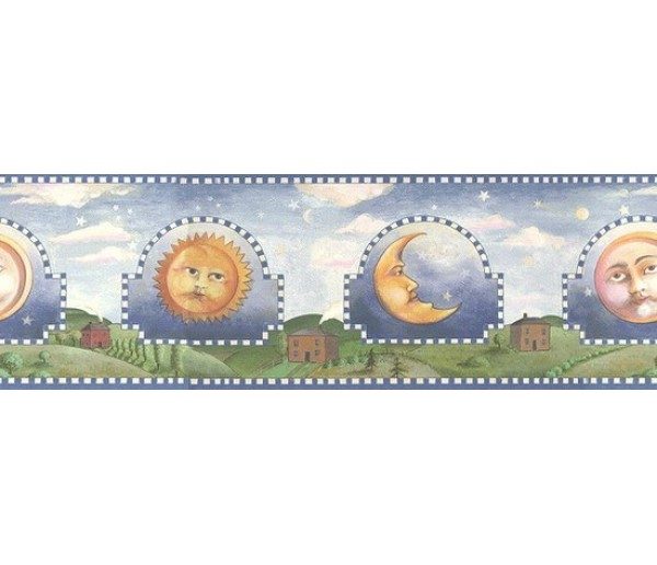 Sun Moon Stars Borders Blue Celestial Sun Moon Wallpaper Border York Wallcoverings