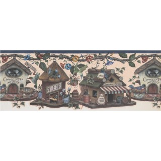 9 in x 15 ft Prepasted Wallpaper Borders - Kingfisher Bird Houses Wall Paper Border