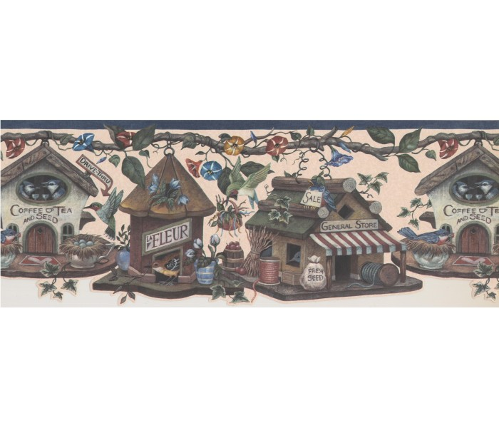 Bird Houses Wallpaper Borders: Kingfisher Bird Houses Wallpaper Border