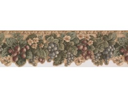 7 in x 15 ft Prepasted Wallpaper Borders - Floral Fruit Acanthus Wall Paper Border