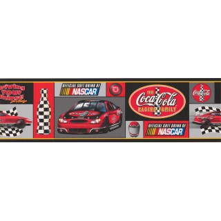 7 in x 15 ft Prepasted Wallpaper Borders - Coca-cola Nascar Wall Paper Border