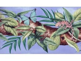 Butterfly Frog Lizard Leaf Wallpaper Border