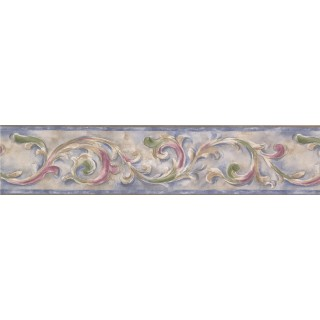 5 in x 15 ft Prepasted Wallpaper Borders - Blue Running Floral Wall Paper Border