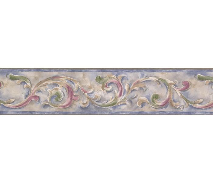 Vintage Wallpaper Borders: Blue Running Floral Wallpaper Border