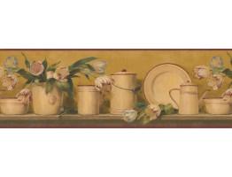 Bronze 5812135B Dishes Wallpaper Border