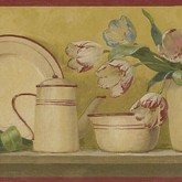 Kitchen Borders Bronze 5812135B Dishes Wallpaper Border York Wallcoverings