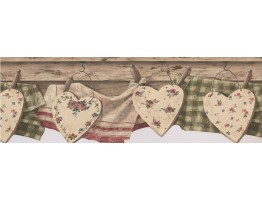 Brown Wooden Heart Wallpaper Border