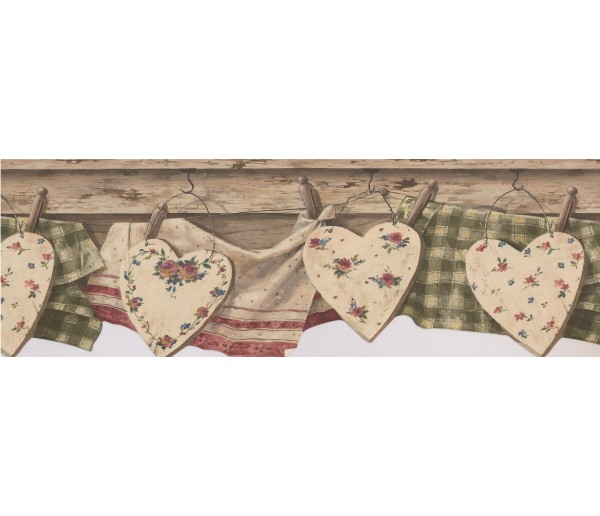 Laundry Wallpaper Borders: Brown Wooden Heart Wallpaper Border