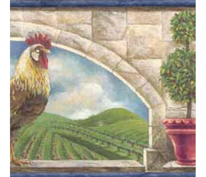 Roosters Wallpaper Borders: Blue Rooster 5812175B Wallpaper Border