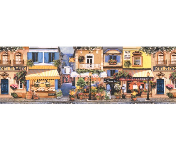City Wallpaper Borders: Lavender Street Cafe Wallpaper Border