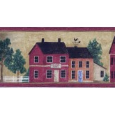 Clearance Wooden Red Store Houses Wallpaper Border York Wallcoverings