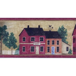 6 in x 15 ft Prepasted Wallpaper Borders - Wooden Red Store Houses Wall Paper Border