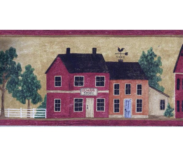 Clearance: Wooden Red Store Houses Wallpaper Border