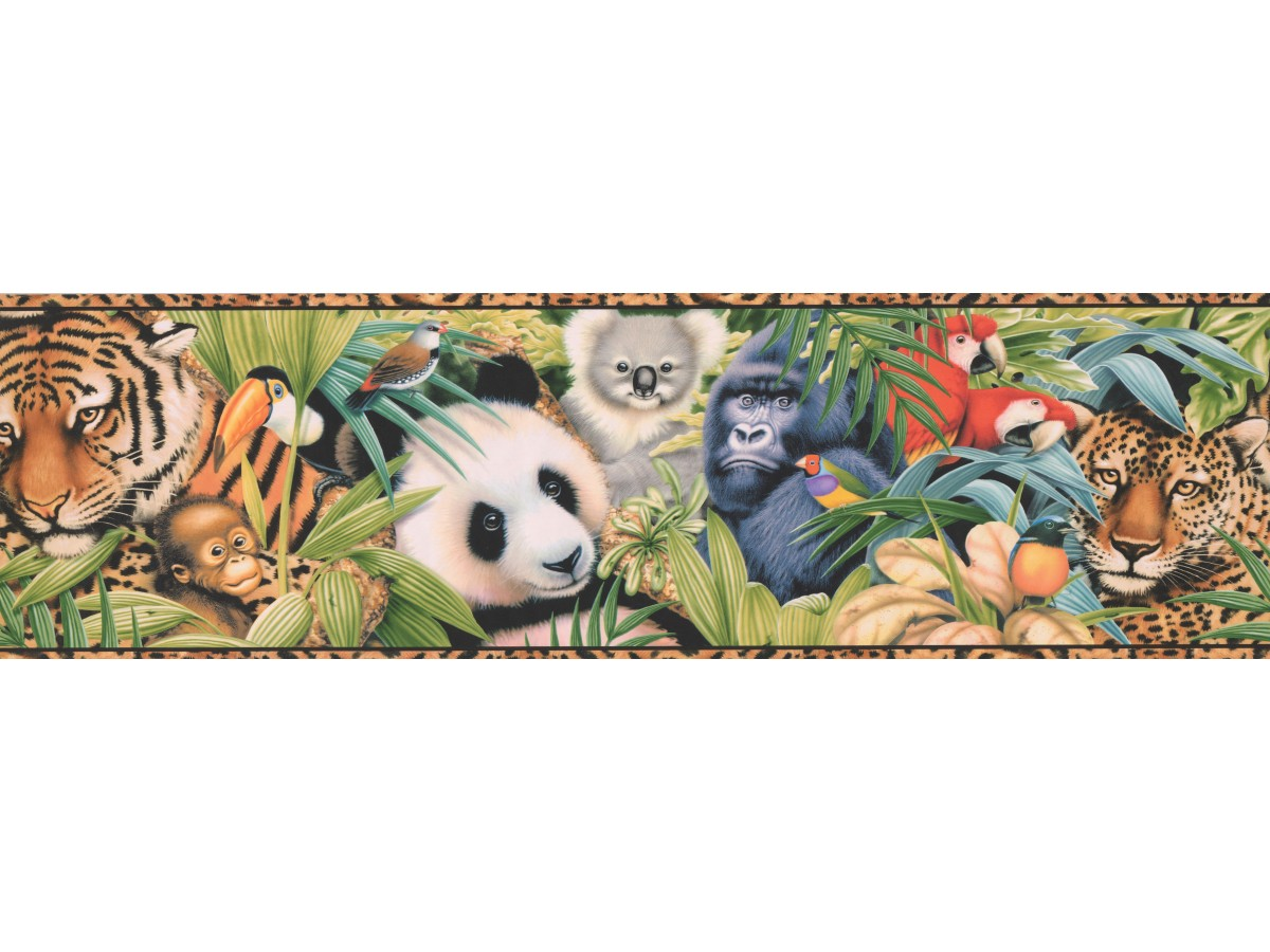 Kids Borders Tan Black Animal Print Wallpaper Border