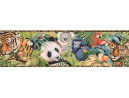 Prepasted Wallpaper Borders - Tan Black Animal Print Wall Paper Border
