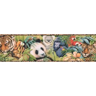 15 ft Prepasted Wallpaper Borders - Tan Black Animal Print Wall Paper Border