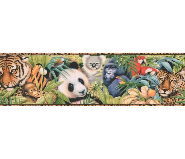 Clearance: Tan Black Animal Print Wallpaper Border