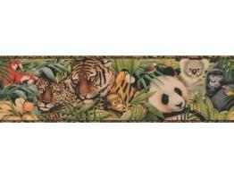 Prepasted Wallpaper Borders - Brown Black Animal Print Wall Paper Border