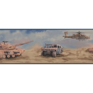 Prepasted Wallpaper Borders - Dark Tank Helicopter Navy Wall Paper Border
