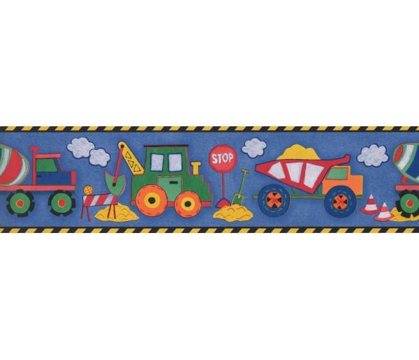 Nursery Wallpaper Borders: Black Yellow Toy Construction Trucks Wallpaper Border