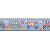 Clearance: Blue Yellow Toy Construction Trucks Wallpaper Border
