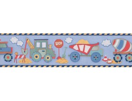 Prepasted Wallpaper Borders - Blue Yellow Toy Construction Trucks Wall Paper Border