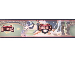 Black Red Baseball Field Scene Wallpaper Border