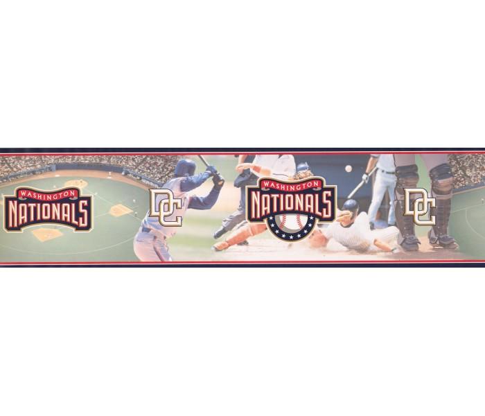 Baseball Wallpaper Borders: Black Red Baseball Field Scene Wallpaper Border