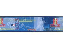 Prepasted Wallpaper Borders - Blue MLB Baseball Moves Wall Paper Border