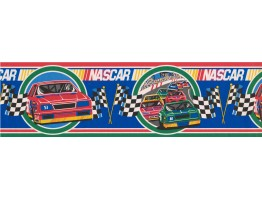 6 1/2 in x 15 ft Prepasted Wallpaper Borders - Red Nascar Wall Paper Border